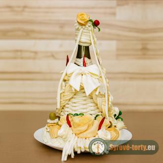 Biele víno zdobené syrom